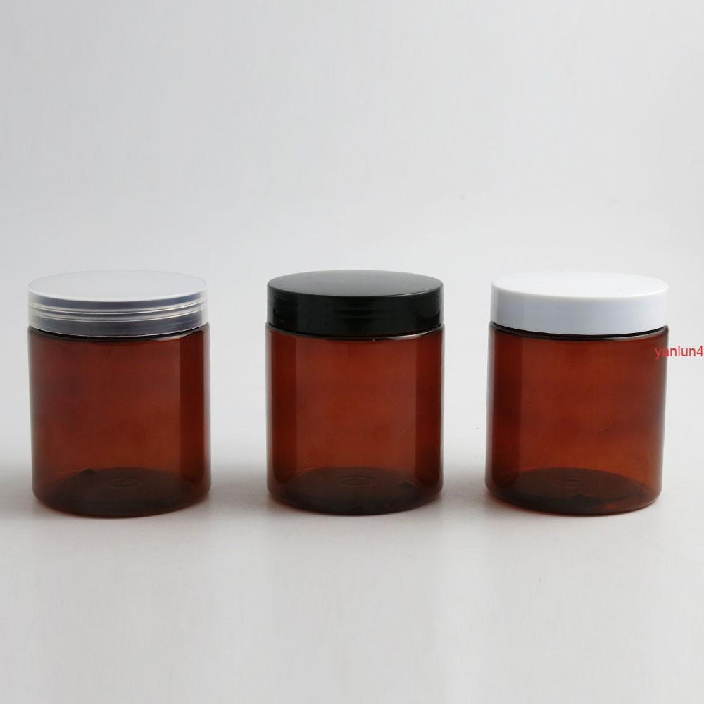 24 x 250g Vide Ambre Cosmétic Crème Contenants Pors 250CC 250ml pour Cosmétiques Emballage Bouteilles en plastique avec expédition CapFree