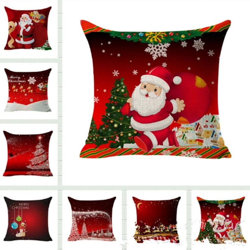 Eco-Friendly Christmas Decoration Pillowcase Square Throw Cushion Cover Pillow Case Gift Home Decor Sofa Bed Car DHE2513