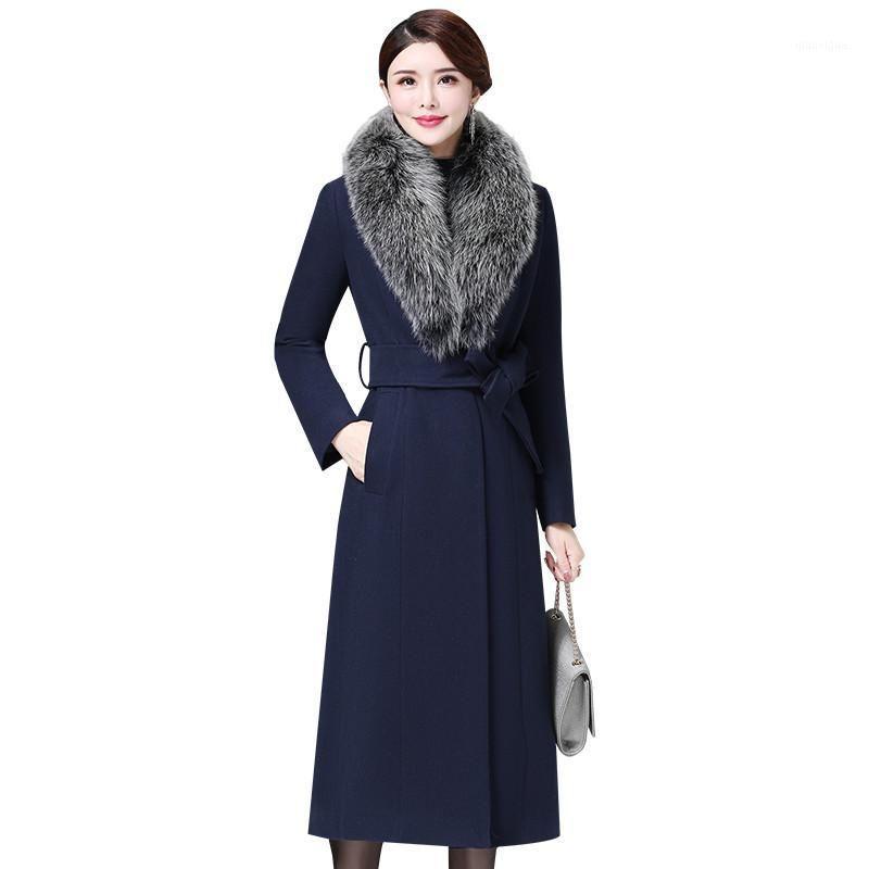 2020 Mulheres de inverno Casaco de lã elegante casaco de lã longo casaco de pele quente casaco feminino mais tamanho 5xl casaco feminino p2041
