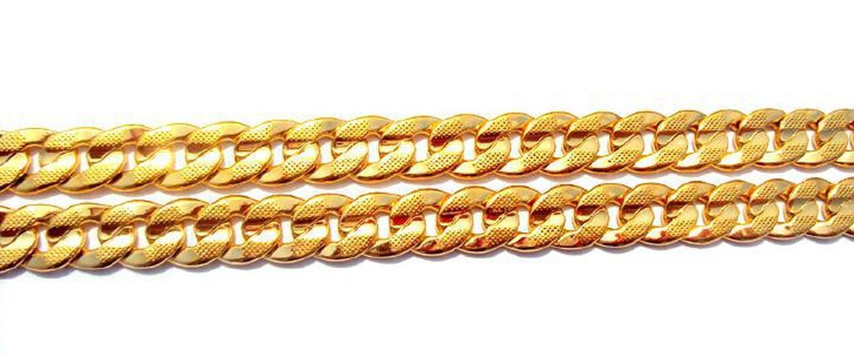 24K Твердое золото двусторонняя последовательность песка кубинское звено цепи ожерелье 23.6 дюймов 100% реального золота, нет WMTPGH DH_GARDEN