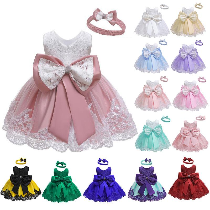Free DHL Wholesale High-end Quality INS Baby Kids Girls Princess Party Dresses with Hairbands 2pieces Set Children Newborn Birthday Dress
