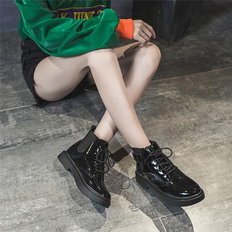 Сапоги Женщины Большой Размер Кружева Водонепроницаемый Botas Mujer Invierno 2020 Классический Зимний Черный Байкер Лодыжка Плоские Сапоги Обувь 5