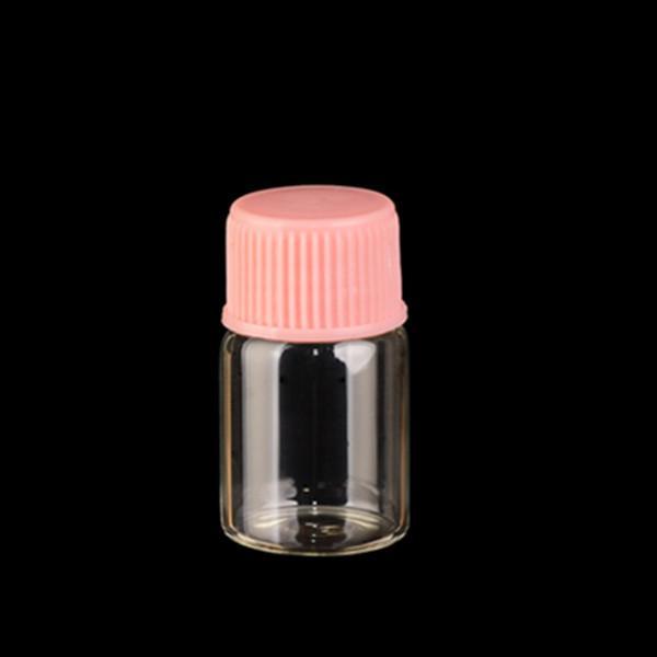 Frete grátis - 100 pçs / lote 2ml mini garrafa de vidro com tampa de plástico, frascos de amostras, varredura do pescoço para o uso do óleo essencial