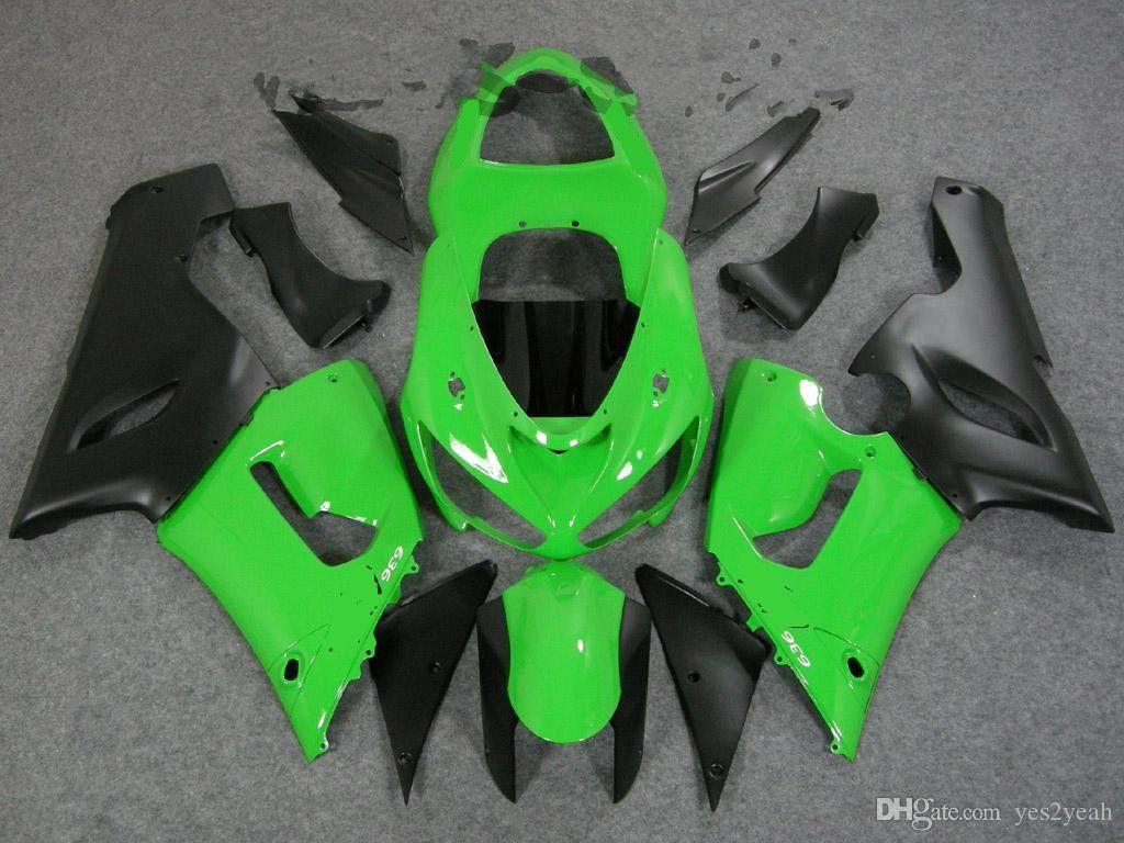 Green Black Fairing Body Kit voor Kawasaki Ninja 2005 2006 ZX6R 05 06 Carrosserie ZX-6R 636 ZX 6R FACKINGS SET + GIFTEN