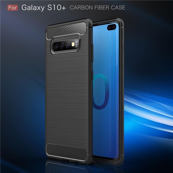 Kohlefaser-Silikon-Schutzabdeckung für Samsung Galaxy S105G S10 E S9 PLUS S8 S7 S6-Telefonabdeckkante Hinweis 10 Pro 9 8