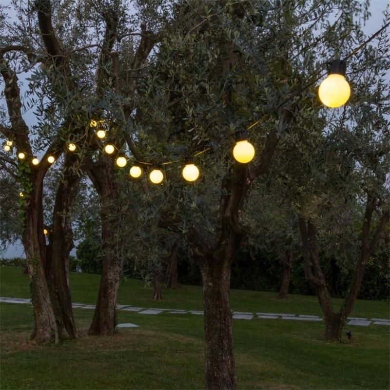 Novedad 5 cm tamaño grande 38 bola 10m led string negro alambre led luces estrellado navidad boda interior decoración al aire libre iluminación de cadena 20127