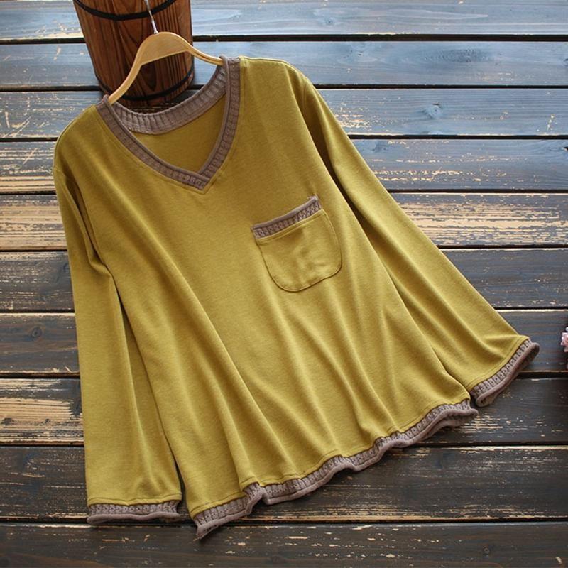 2020 Automne Femmes Blouse Mori Fille Lâche V-Col V en V coton Chemises Camisa Mujer Basic Casual Couleur Solide Tops Blusas