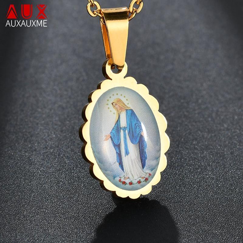 AUXAUXME 2020 Altın Oval Bakire Mary Paslanmaz Çelik Kolye Katolik Mavi Hıristiyan Kadın Erkek Hediye Için