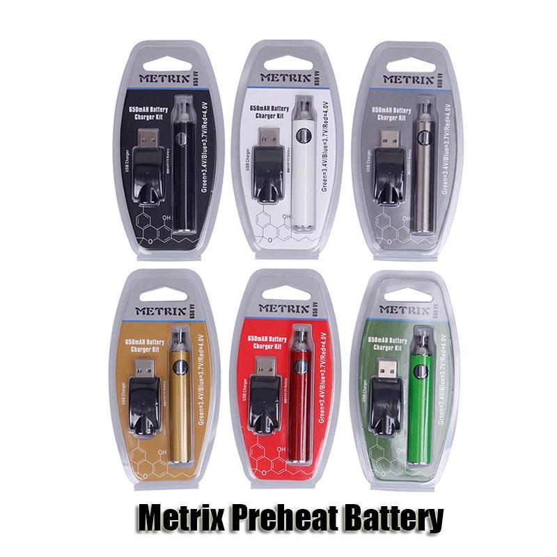 Метрикс Предварительная батарея Batterister Kit 650mah Vertex Предварительно нагревая Переменное напряжение VV Батареи USB Зарядное устройство Vape Pen для 510 Толстый масляный картридж DHL DHL