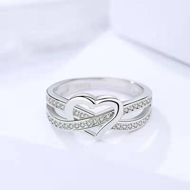 925 Sterling Silber einfache herzförmige Frauen Single mit Zirkoonring