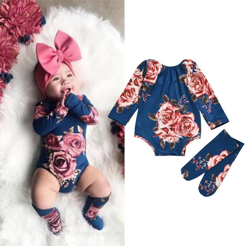 Neugeborenes Baby Langarm Strampler Großer Blumen Jumpsuit Mädchen Warme Bein Socken Outfit 0-24M Baby Kleidung 1032 Y2