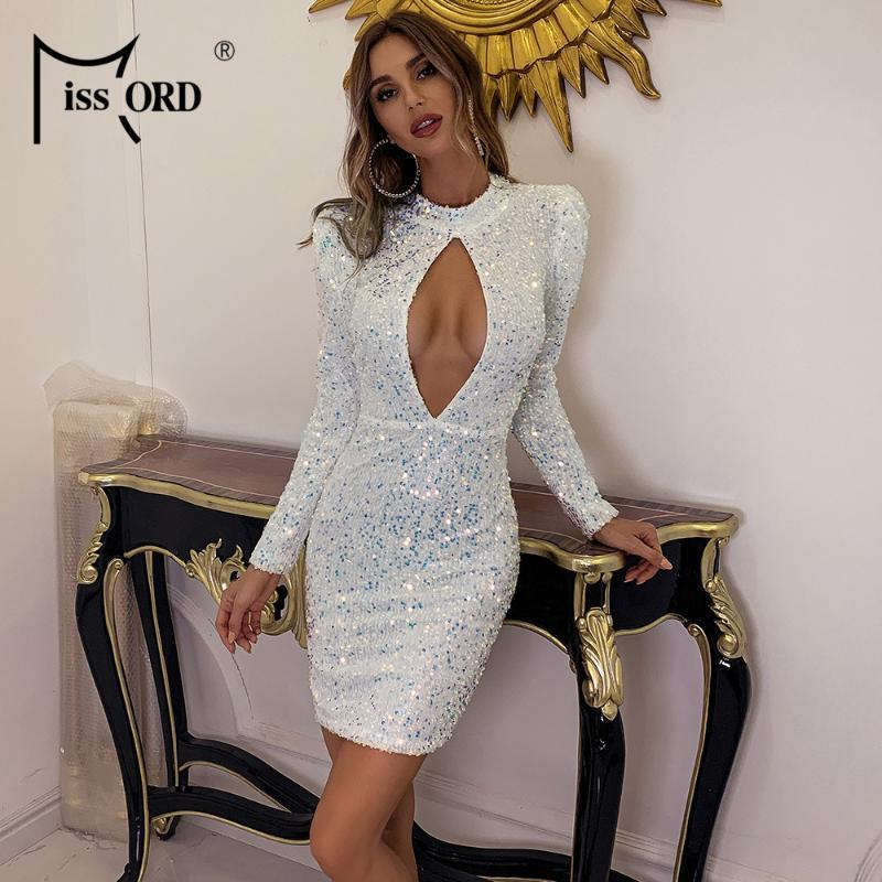 Missorde Sexy Manches Longues Creuse Saisis Robe Robe Femme Femmes Élégante Robe Baldoyale Hiver Automne Hiver Court Club Party M0832