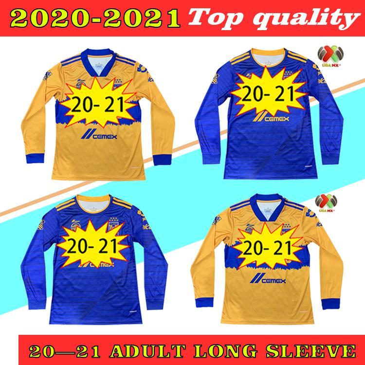 Manga Longa 2020 2021 Tigres Naul Tigres Uanl Soccer Jerseys 7 Estrelas Camiseta de Futbol México Liga MX Camisa Football Gignac Manga Completa