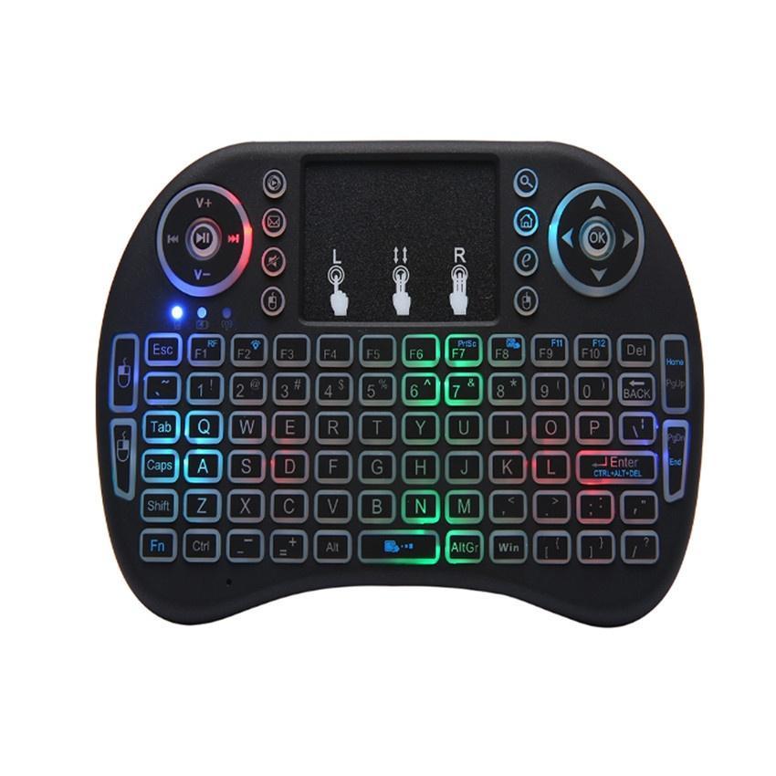 I8 MINI Klavye 2.4G El Touchpad Şarj Edilebilir Lityum Pil Kablosuz Fly Hava Fare Uzaktan Kumanda Işık Aydınlatmalı 10 adet / grup
