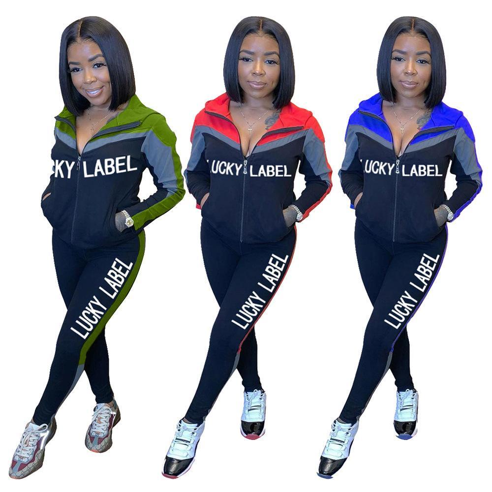 Femmes Sweat à sweat à capuchon 2 pièces Ensemble de tenues Tenue à manches longues Tracksuit Veste Pantalons Sportswear Solid Color Splicing Lettre Sport