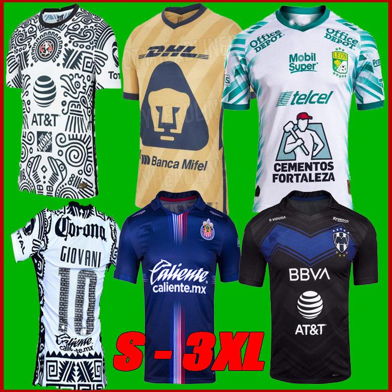 Liga MX 21 22 Club Amerika Futbol Formaları Leon Üçüncü 21 22 Meksika Léon Tijuana Tigres Unam Chivas Cruz Azul 3rd Futbol Gömlek Boyutu S-3XL