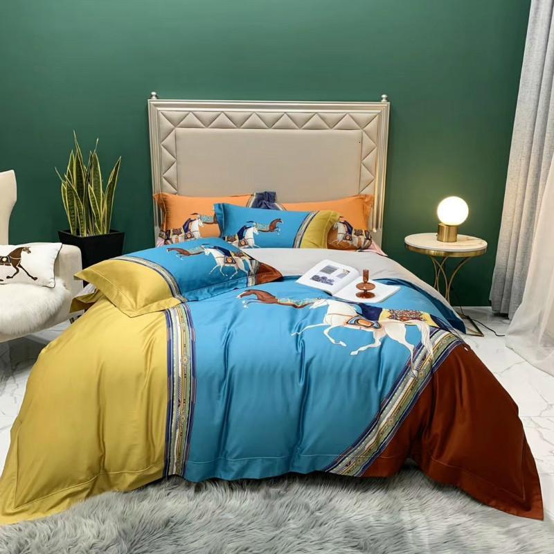 100s Luxury King Tamaño 4PCS Juego de ropa de cama 100% algodón Funda de edredón Conjuntos Caja de almohada de lecho de cama