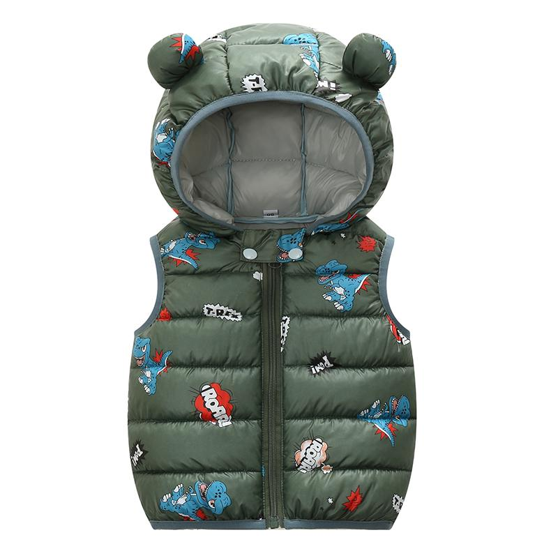 Olekid otoño invierno chaleco chaleco con capucha de dibujos animados dinosaurio niño chica cintura 1-4 años niño chaqueta sin mangas niños chaleco 201110