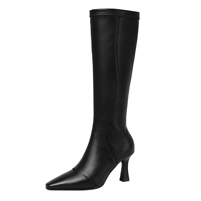 Neue Marke Frauen Kniehohe Stiefel Mode Herbst Winter Sexy High Heels Schuhe Frau Schwarz Beige Reißverschluss Warme lange Stiefel Größe 34-391