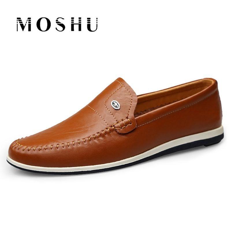 Deslizamento de outono na Loafers Casual sapatos masculinos de couro genuíno Flats Negócios condução Sapatos Oficial macia Mocassin Homme