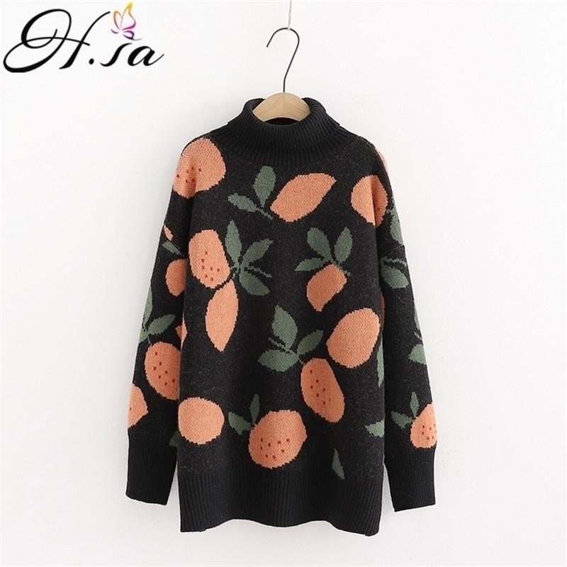 H.SA Women Casual Sweaters Winter Warm Turtlecneck Sweet Jumpers Warm Pull Knitwear Oversized Sweater Fruit Sweaters 201017