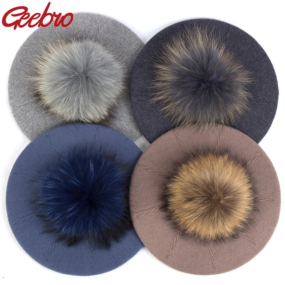 Geebro Hembra de invierno Boinas con 15 cm Bola real Pom Pom Hat para las mujeres Chica Punto de punto Gorra gruesa Skullies Skullies Skullies Gories LJ201105