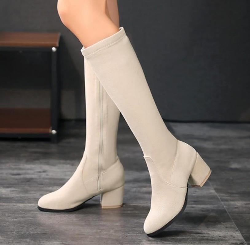 Flock Knight Shoe Chaussures Femme Zapatos Mujer Sapato Soft Sexy Mulheres Knee Botas High Botas High Saltos Sapatos Mulher Quente K0135