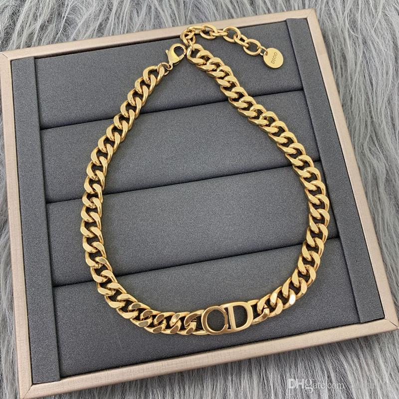 패션 구리 D 편지 14K 골드 쿠바 링크 체인 목걸이 팔찌 망 및 여성 파티 연인 선물 힙합 보석 상자