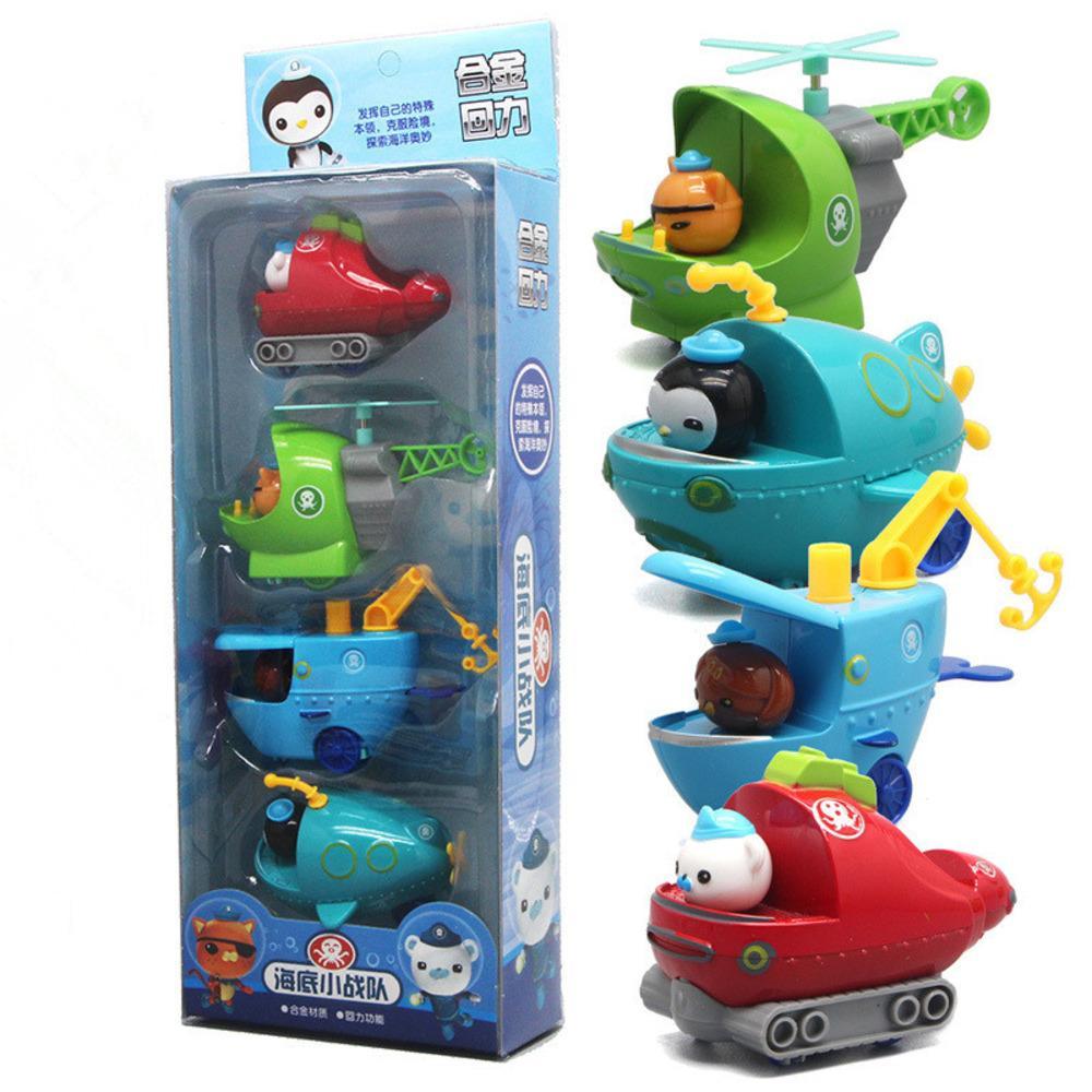 4 قطعة / المجموعة octonauts الرقم اللعب الأوكتاجا سيارة الكابتن barnacles kwazi الطفل الأطفال هدية عيد الميلاد Y1130