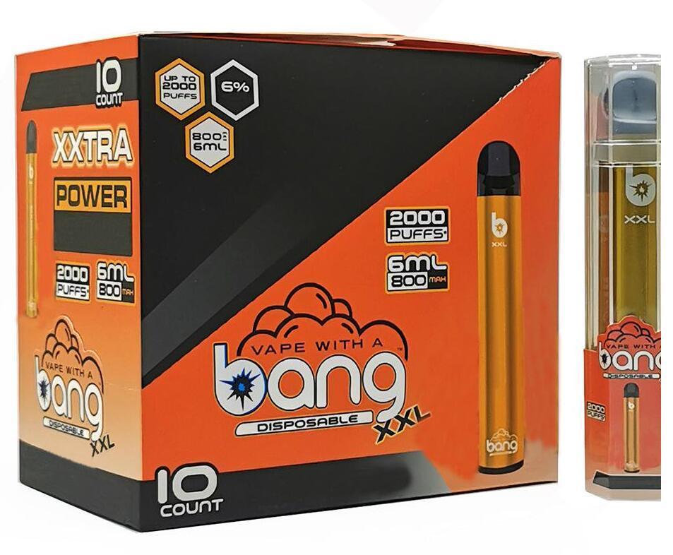 NEW Bang XXL Disposable Vape Pen Device 800mAh Battery 6ml Pods Empty Vapors 2000 Puffs Bang XXtra Vape Kit