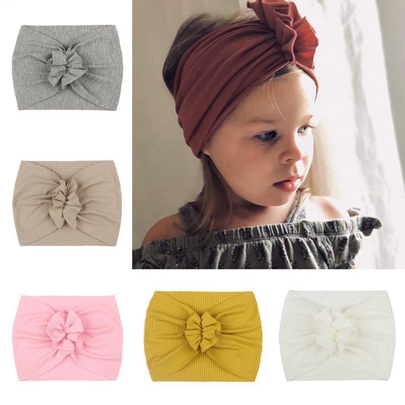 Amplia suave bebé niñas diadema flores elástico recién nacido bebé banda de pelo headwrap turban bebé accesorios para el cabello
