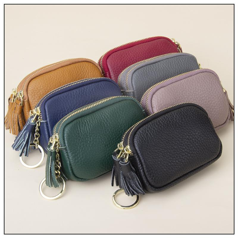 Bag New The Zipper Zero Ring Leather Large Mini Lady Resuscer Volume Collection Wallet Key Wallet Coin Small Double Efjpq