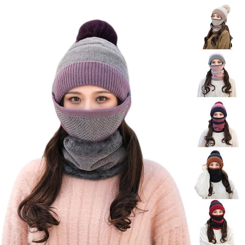 Femmes hiver 3pcs Contraste Couleur Couleur Tricot chaud Pompon Beanie Chapeau Set de masque de visage Foulard