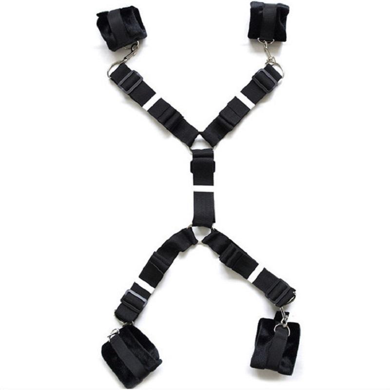 Рабочая кровать Секс рабство наручники ноги открытыми шеи Ограничения горнолыжные игрушки эротические регулируемые ремешки набор флирт BDSM ремешок Попаркует Sexuels Hihk