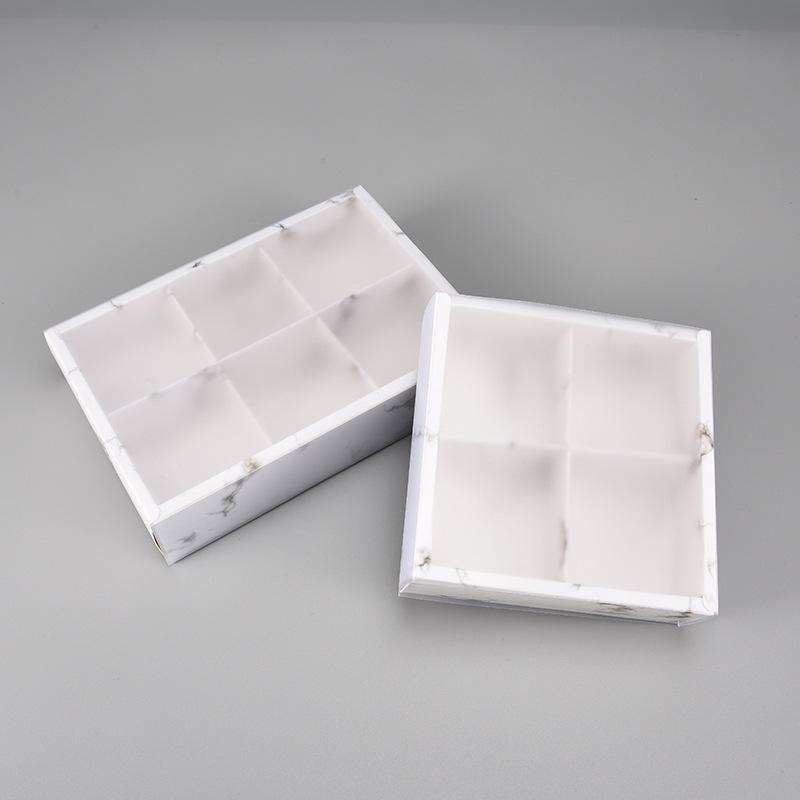 Boîte à papier de conception de marbre avec couvercle en PVC givré Chocolat Chocolate Paper Boîtes Boîtes De Mariage Boîte Coffret Coffret Boîte Cadeau WB3429