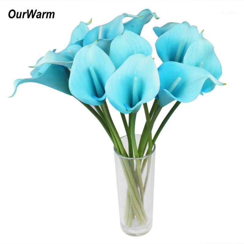 Ourwarm 6pcs / lot Künstliche Calla Lily Latex Real Touch Calla Lilies Gefälschte Blumen Hochzeit Brautstrauß Festliche Partei Supplies1