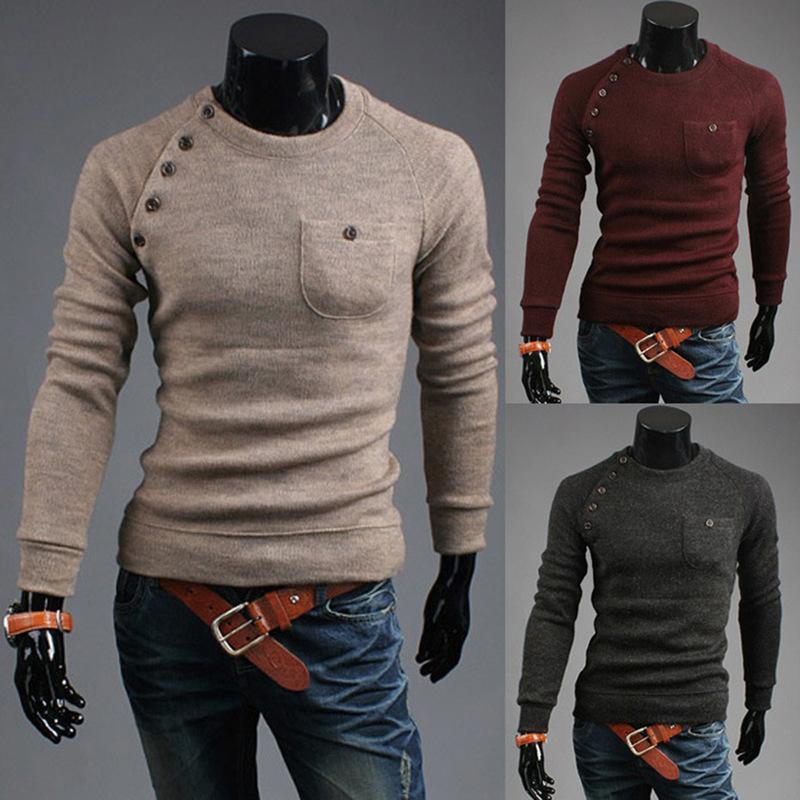 Zona masculina camisolas casuais a malha de pescoço com bolso sólido outono roupas puxar cashmere homme camisola fina tops 8jbw