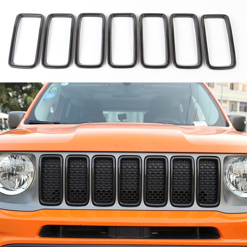 ABS Front Mesh Grille Inserts Grill Couvercle Garniture Fibre de carbone pour Jeep Renegade 2019-2020 Accessoires extérieurs automatiques