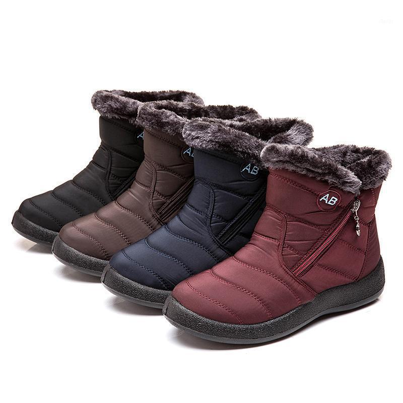 Женские сапоги водонепроницаемые снежные сапоги женские плюшевые зимние женщины теплые лодыжки Botas Mujer зимняя обувь женщина плюс размер 35-431