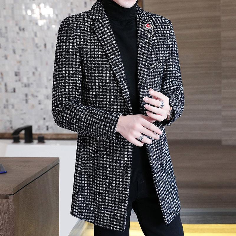 Plaid Men Blazers Giacche di lana invernale stile britannico stile lungo abito casual vestito cappotto streetwear sociale uomo abbigliamento costume homme