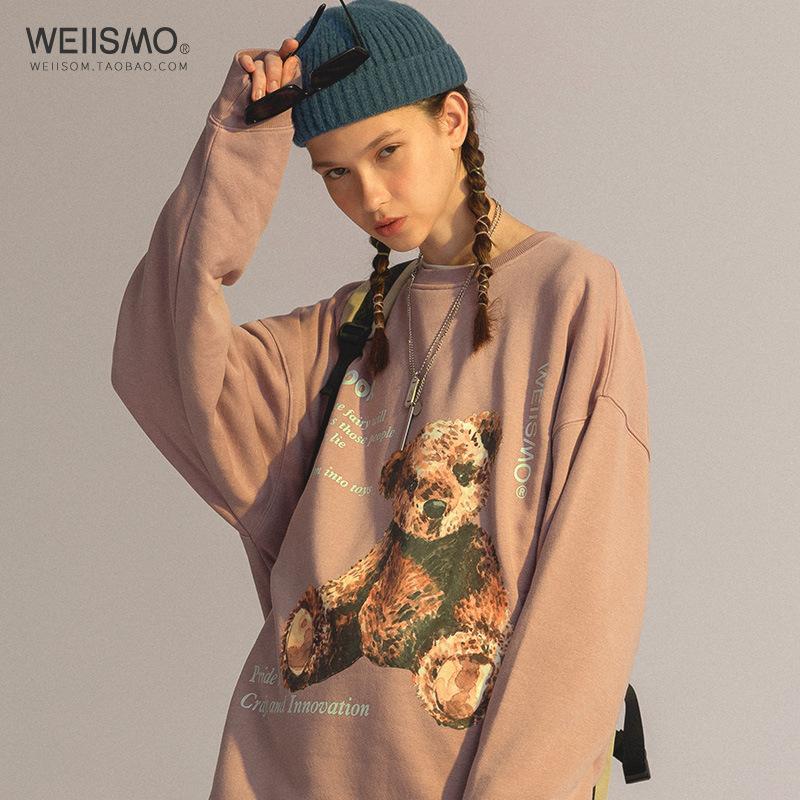 Weiismo National Mode mignon Bear imprimer Pull de couple rose Noir Sous à sweat à capuche en automne et hiver