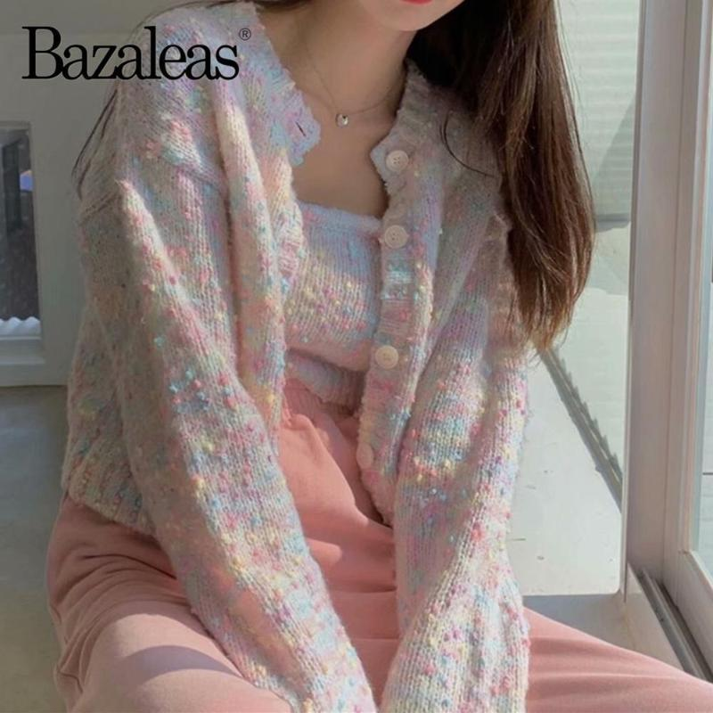 Tire Bazaleas flojo colorido de mujeres suéter de punto de Calle Camis Y rebeca de la manera Hembra linda ropa Kardigan