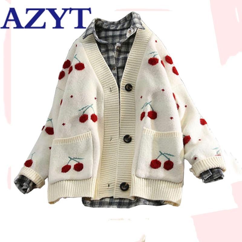 Азит фрукты вишня вышивка вязаный кардиган осень V шеи негабаритные женщины свитер кардиган куртка зима теплый трикотаж Y200915