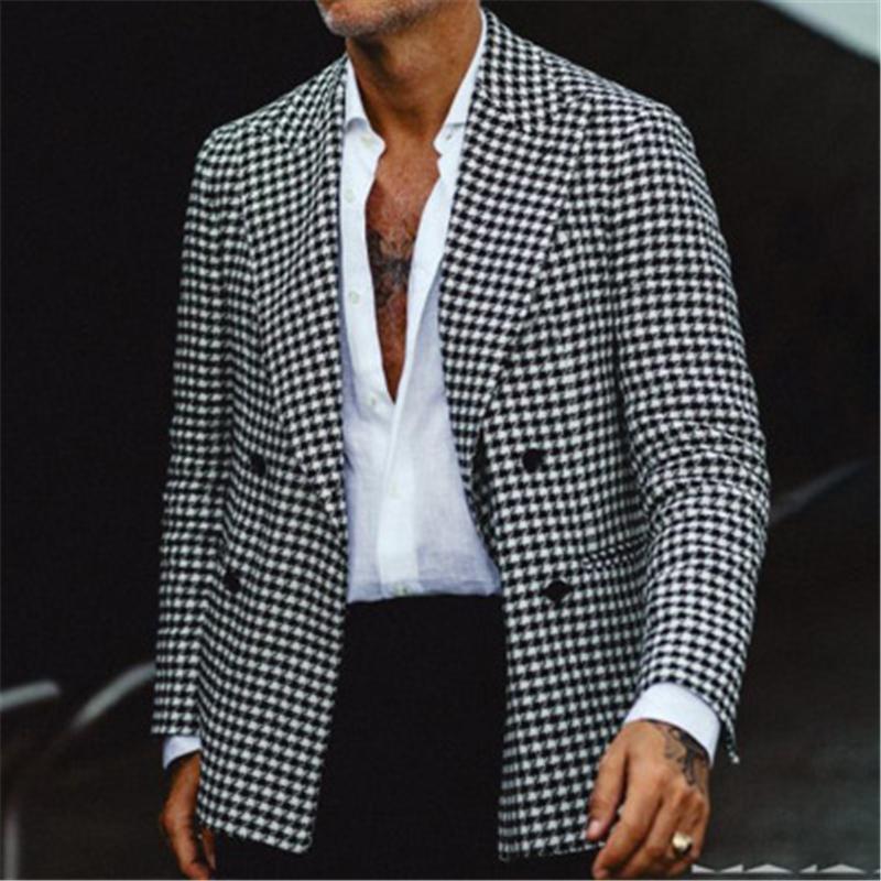 Herren Plaid Anzug Jacke Mode Trend Langarm Cardigan Buttons All-Match-Oberbekleidung Designer Male Winter Neuer Revers Casual Slim-Mäntel