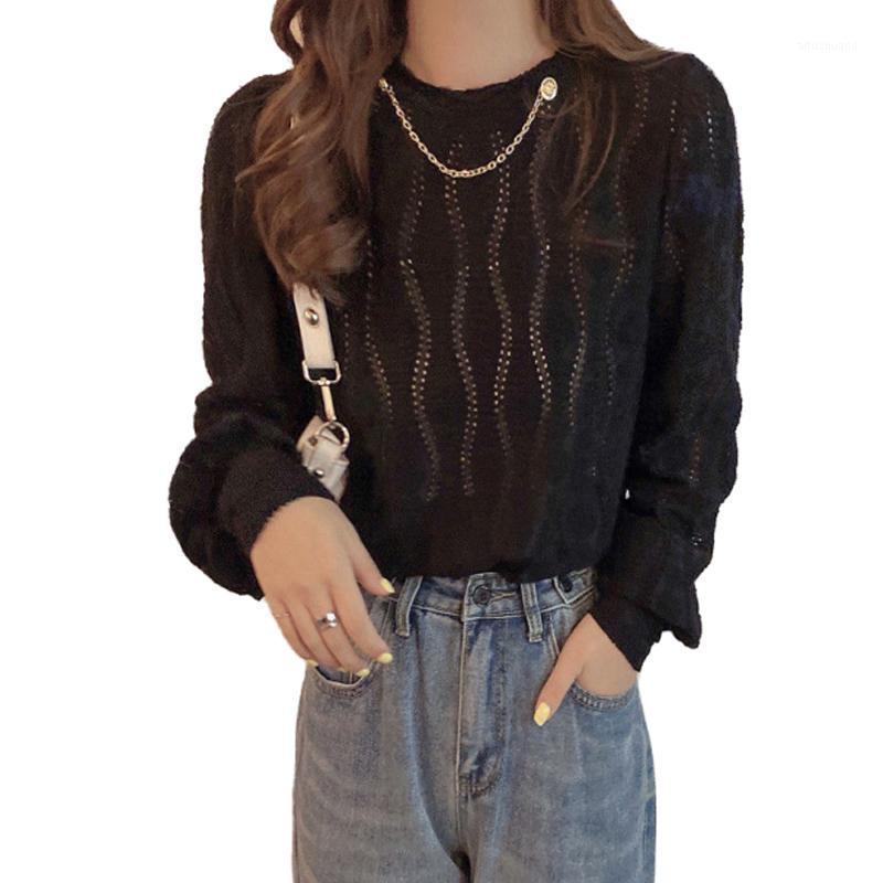 Primavera estilo otoño encaje blusa camisa de color sólido de mujer manga larga remiendo hueco fuera tops elegantes SP9751