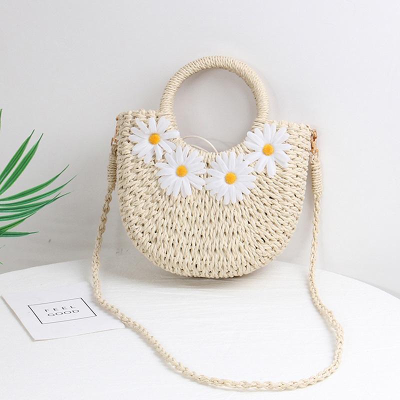 Casual Rattan Women Shoulder Bags Circle Straw Handbags Big Capacity Summer Daisy Messenger Crossbody Bags Straw Bags 2020 C0308