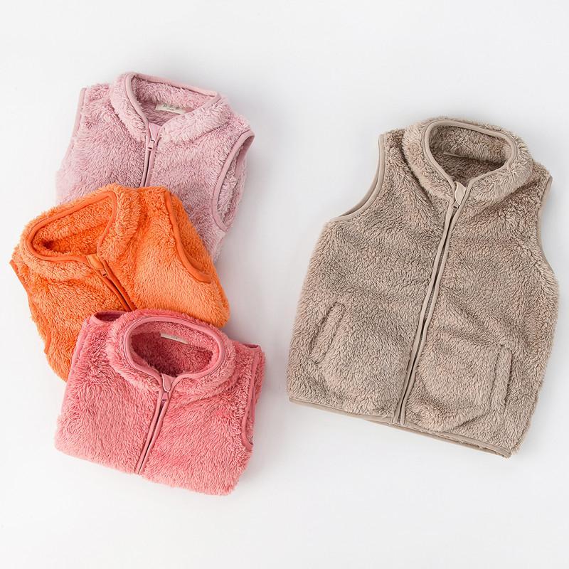 أزياء شيربا الصوف سترة الشتاء أطفال الأطفال أفخم الفراء صدرية أكمام معطف بنين بنات zip أبلى سترة واقية السترات أعلى E120805