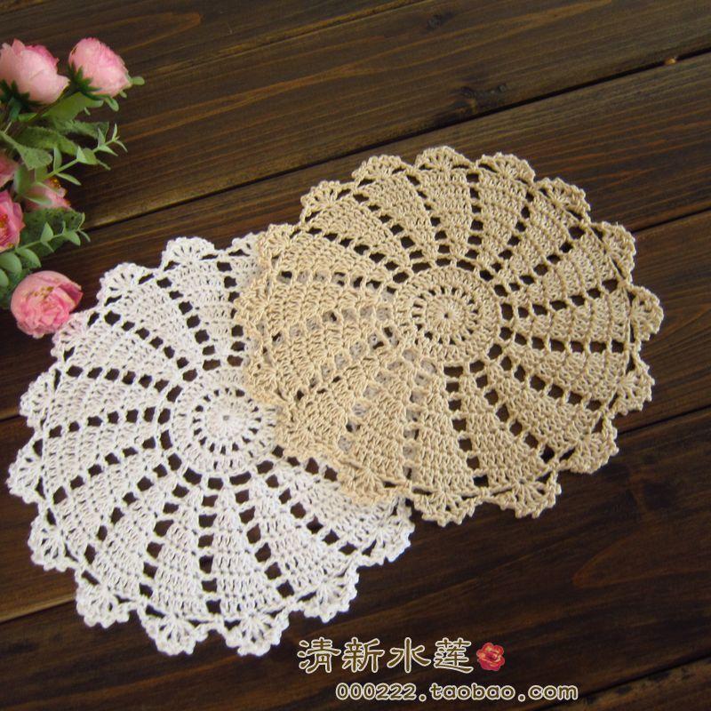 new arrival 6 pcs 100% natural cotton crochet lace doilies for dinning table decoration as tea pot pads for home decor C1210