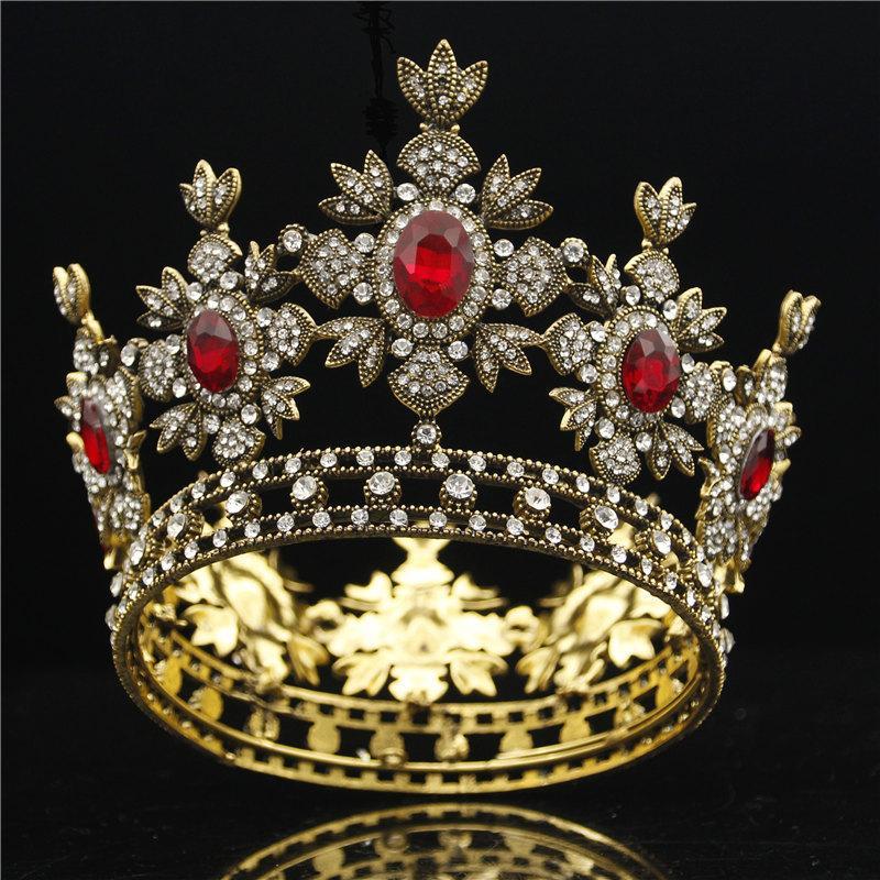 Vestido negro nupcial barroco Tiara Crown Gold Real King Didem Novia Joyería de cabello Hombre Tiaras y coronas Tocado MX200727