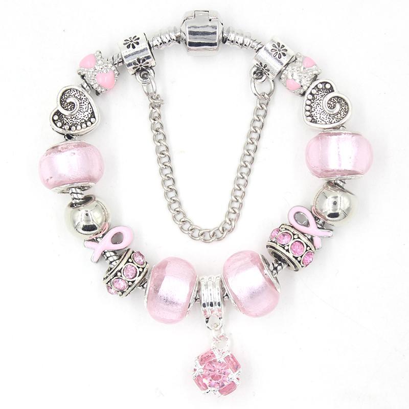 Новое поступление оптом Особое внимание на рак молочной железы ювелирные изделия розовый шар Beat Bub Bracete розовые ленты рак молочной железы браслеты для женщин девушек